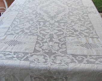 Vintage Ecru Lace Tablecloth, or repurpose