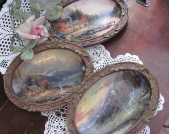 Set of 3 Thomas Kinkade End of a Perfect Day, Serenity, Harmony, Tranquility