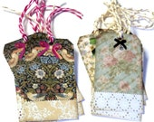 12 Gift Tags, Vintage Look Floral, Hang Tags, Multi Color and Design, Tags, Party Favor Tags