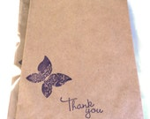 "10 Paper Bags,Gift Bags, Thank You Butterfly, Purple Stamped, Brown Kraft, 7.5"" x 5"", Packaging Supplies, Party Favor Bags"