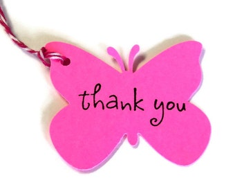 20 Tags, Gift Tags, Thank You, Merchandise, Neon Pink, Butterflies, Party Favor Tags, Hang Tags