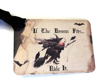 "8 Gift Tags, Halloween Tags, Black Tan, Witch on Broom, ""If the Broom Fits..."",  Party Favor Tags, Merchandise Tags"