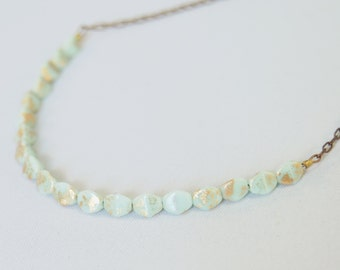 Minimal mint green and gold Czech glass necklace by CURRICULUM