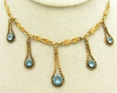 Vintage Bib Necklace Gold Filled Jewelry Blue Fringe N7143