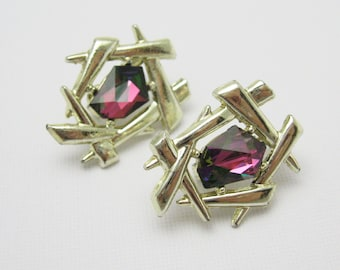 Asian Earrings Watermelon Rhinestones Coventry Vintage Jewelry E7131