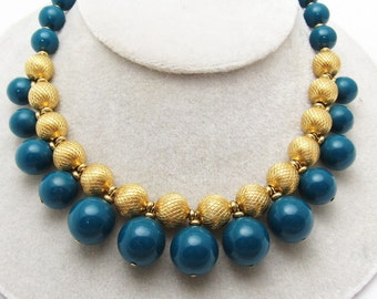 Vintage Bead Fringed Necklace Teal Napier Jewelry N7271