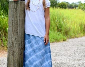 Girls Maxi skirt - Boho maxi skirt - Toddler Maxi skirt - long skirt - tie dye skirt - Summer skirt - Bohemian skirt - blue skirt - maxi