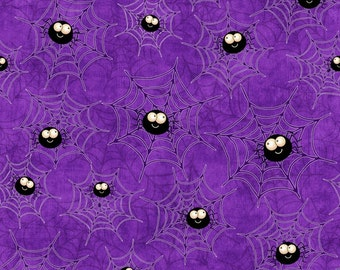 Creepy Hollow Halloween Celebration 100% cotton fabric sold by the yard Smiling Spiders web-  new & unwashed smoke and pet free