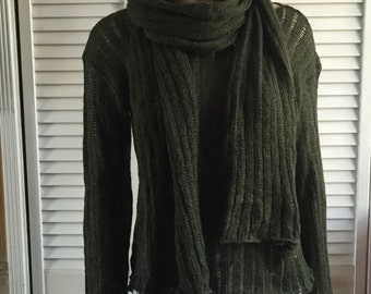 Dark olive green alpaca sweater with matching scarf - Medium