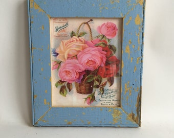 SHABBY ARCHITECTURAL SALVAGED Recycled Wood Periwinkle  8 X 10 Picture Frame 214-16
