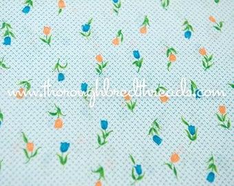 Pretty Tulips - Vintage Fabric Mod Juvenile 60s New Old Stock Turquoise Orange