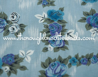 Moody Blue Roses  - Vintage Fabric 35 inches wide 40s 50s New Old Stock Wonderful Cottage Look