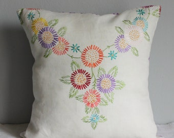 Cushion slip vintage embroidered flowers mixed colours 40x40cm