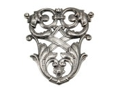 Large Shield Flourish Stamping in Blackened / Oxidized Silver Plated Over Brass - Neo Victorian, Art Nouveau