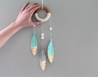Mint Dream Catcher Wall Mobile. Luxe Felt Feather Decor. Mini Dream Catcher Wall Hanging for Nursery. Modern Tribal Nursery Dreamcatcher.