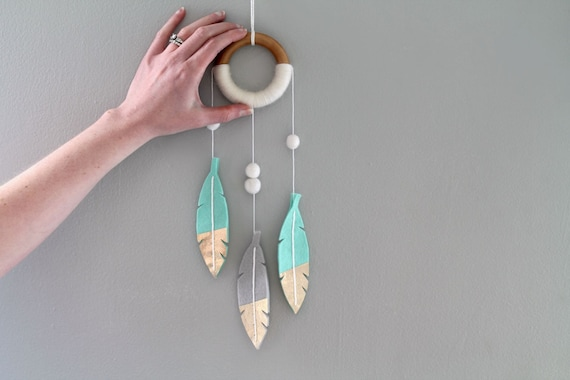 Mint Feather Dream Catcher Wall Mobile. Luxe Felt Feather Decor. Mini DreamCatcher Wall Hanging for Nursery. Modern Tribal Nursery.