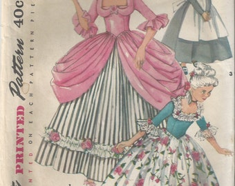 50s Simplicity 4862 Girls Marie Antoinette, Colonial, Princess, Queen and Puritan Dress Costume Sewing Pattern Size 6 or Size 10