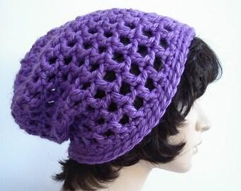 Crochet Hat Grape Purple Textured Bulky Yarn Open weave by AllKindsofArt