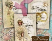 Printable, Victorian Wedding, Collage Sheet, Digital Gift Tags, Decoupage Paper, Table Cards, Wedding Cards, Instant Download, Ephemera