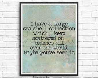 Beach Print, Beach Wall Decore, Seashell Art, Inspirational Quote, Seaside Print, Printable Wall Art, Seaside Decor, Beach Printable