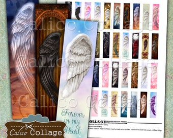 Angel Wings 12x50mm Images, Digital Collage Sheet, .5x2 Matchstick Images, Art Strips, Pendant Images, Digital Images, Printable Download