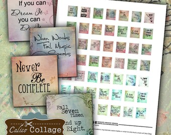 Words to Live By, Scrabble Tile, Collage Sheet, Quote Images, Digital Images, Images for Pendants, CalicoCollage, Charm Images