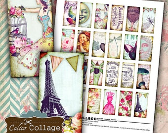 Fanciful Digital Collage Sheet 1x2 Domino Images for Pendants, Bezel Settings, Magnets, Decoupage, Whimsy Images, Words Collage Sheet, Art