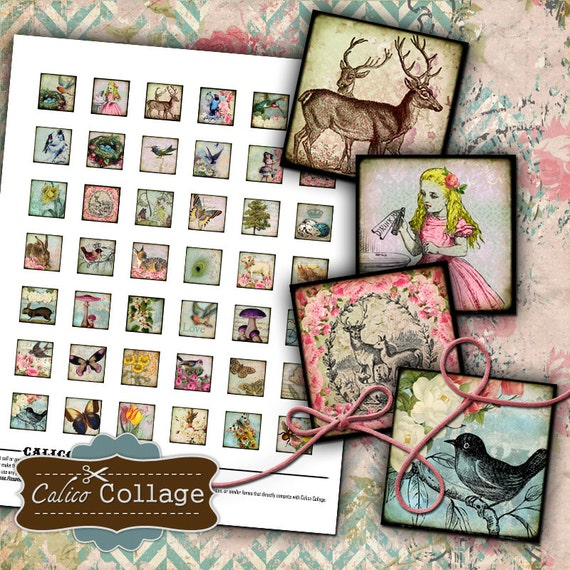 Printable, Simply Spring, Collage Sheet, .85x.85 Inch Squares, Charm Images, Printable Collage, Instant Download, Spring Images, Vintage