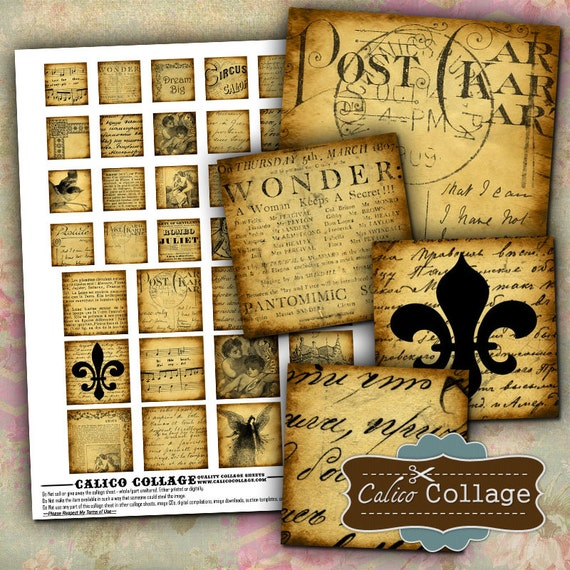 Vintage Text Digital Collage Sheet Printable 1x1 and 1.5x1.5 Squares Tiles for Altered Art, Mixed Media Art, Decoupage Paper, Digital Sheet