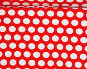 Red with white dots  1 yard knit cotton lycra