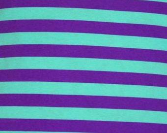 "Knit new purple mint 1"" stripes cotton spandex made in USA 1/2 yard"