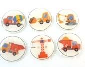 "6 Construction Vehicle Buttons.  3/4"" or 20  mm.  Truck Buttons.  Construction Buttons.  Dump Truck, Back Hoe, Crane, Cement Truck"