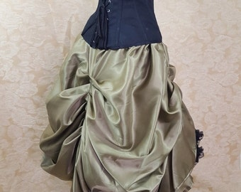 Clearance Chartreuse Pear Green Cabaret Steampunk Ankle Length Tie On Bustle Skirt-One Size Fits All
