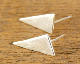 Triangle stud earrings, sterling silver post earrings - 8 x 16 mm, 1 mm thick, fang earrings.