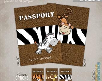 Printable Jungle Safari Passport Birthday Party Invitation, Custom Children's Animal Birthday Invite #B117