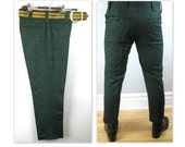 Vintage 60s NOS Mod Pants in a nubby green with matching belt to fit a 29 / 30 waist (est)