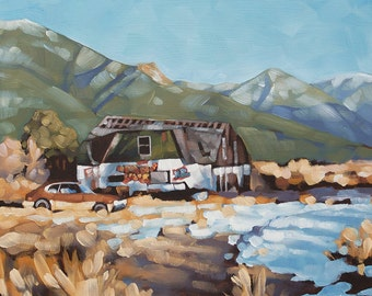 """Landscape Oil Painting, Original Painting of Rural Scene, Mountains, Abandoned House, Old Car, Graffiti - """"Ruins in Q-Town"""""""