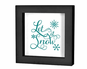 "Christmas Shadow Box Decal Christmas Decoration ""Let it Snow script"" Christmas Charger Plate Decal Holiday Sign Vinyl Sticker Christmas DIY"