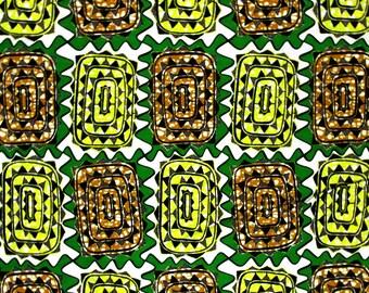 African Fabric 1/2 Yard Cotton Wax Print GREEN YELLOW BEIGE Abstract
