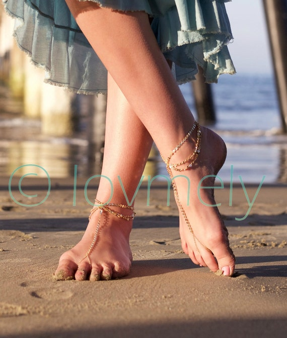 LOVMELY GOLD draped Barefoot sandal /anklet- gold chain foot anklet / Bohemian foot chain/ boho / body jewelry / foot chain / boho chic