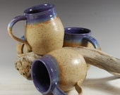 Large Pottery Mug, Purple Grape With Bamboo glaze