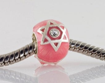 Judaica Jewelry Enameled Sterling Silver Pink Bead w Star of David & Chai/ Large Hole Bead/ Jewish Jewelry Bead/Bat Mitzvah Gift