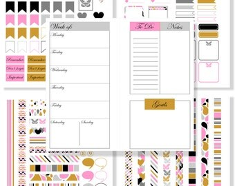 Planner Calendar Printable Planner Stickers Planner Inserts Week On One Page Horizontal Layout