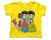 Frida Kahlo Shirt - Sugar Skull Baby - Mexican Folk Art - Girls Tops - Baby Tops - Baby Shirts - Yellow Shirt - 6m - 12m - 18m - 2T