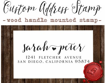 RETURN ADDRESS STAMP Custom calligraphy personalized  address wood handle mounted rubber stamp - style 112