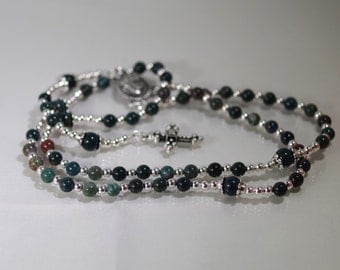 Gemstone Jewelry - 5 Decade Rosary - Bloodstone - Choose Your Cross and Medal