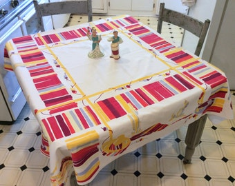 Vintage WILENDUR Tablecloth Festive Mexican Pottery