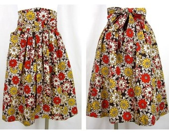Vintage Cotton Wrap Skirt, High Waist, Mod Floral Pattern, Sz S, M