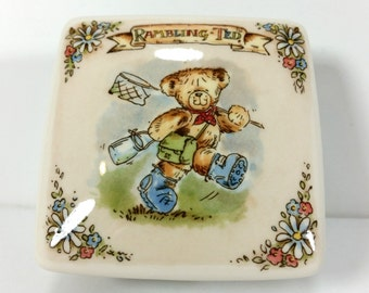 "Vintage Wedgwood Porcelain Trinket Box, ""Rambling Ted"", Children's Story Illustrations"