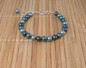 Teal Pearl Bracelet Teal Aqua Pearls Bracelet Freshwater Pearls Teal Bracelet Bridal Teal Pearls Bracelet Pearl Set Valentines Day
